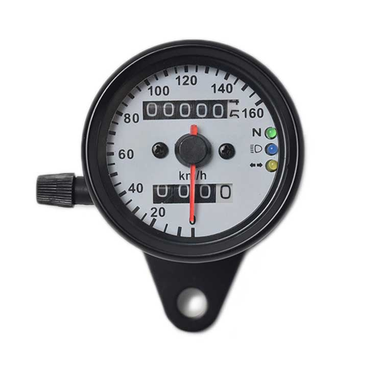 Mechanical Motorcycle Speedometer / Odometer - Black/White