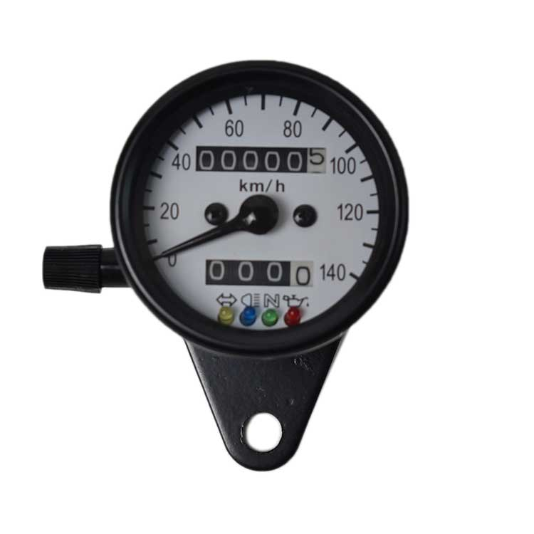 Mechanical 0-140km/h Speedometer Odometer - White Plate