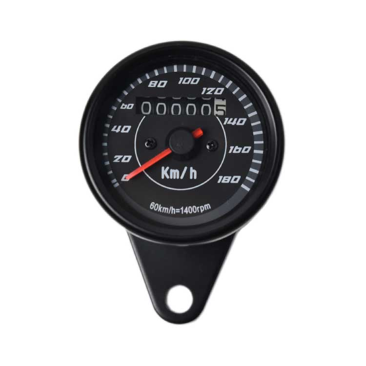 Mechanical 0-180km/h Motorcycle Speedometer - Black