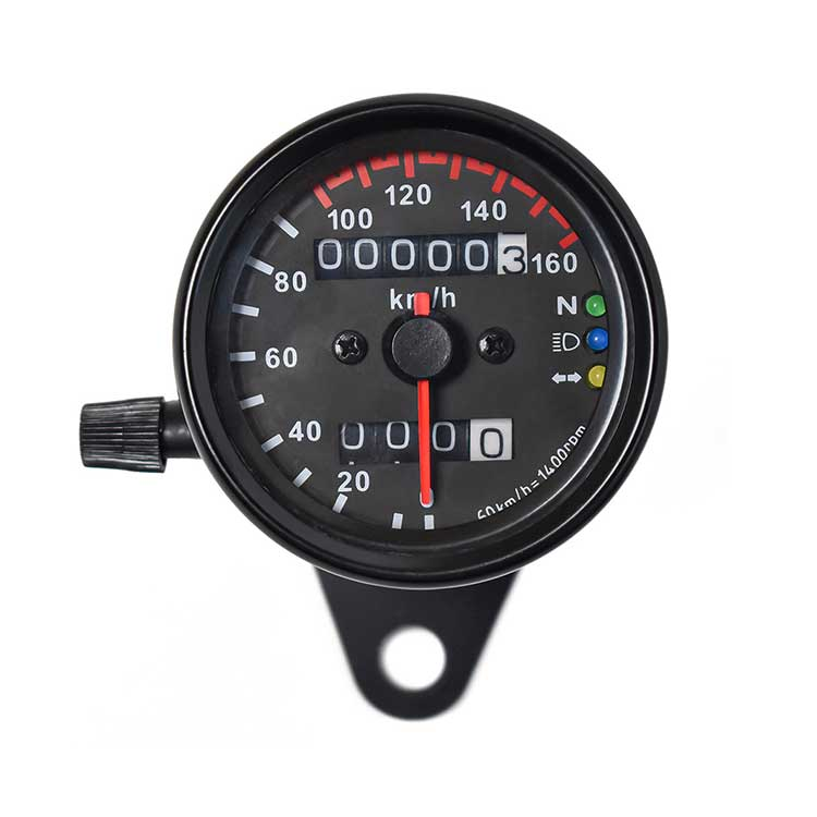 Mechanical Motorcycle Speedometer / Odometer - Black