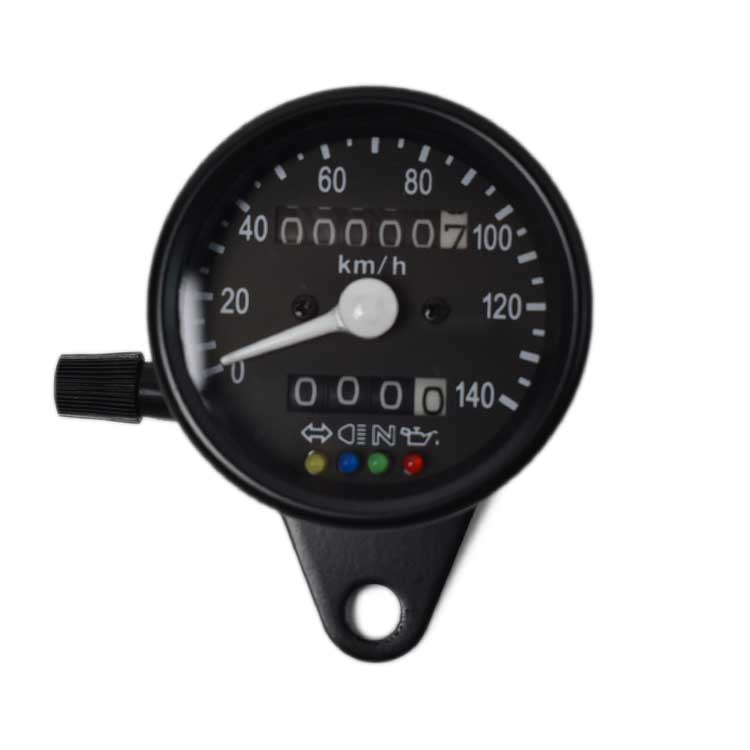 Mechanical 0-140km/h Speedometer Odometer - Black