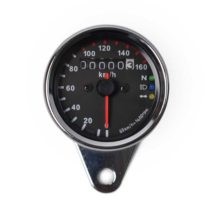 Mechanical 0-160km/h Motorcycle Speedometer - Black Plate