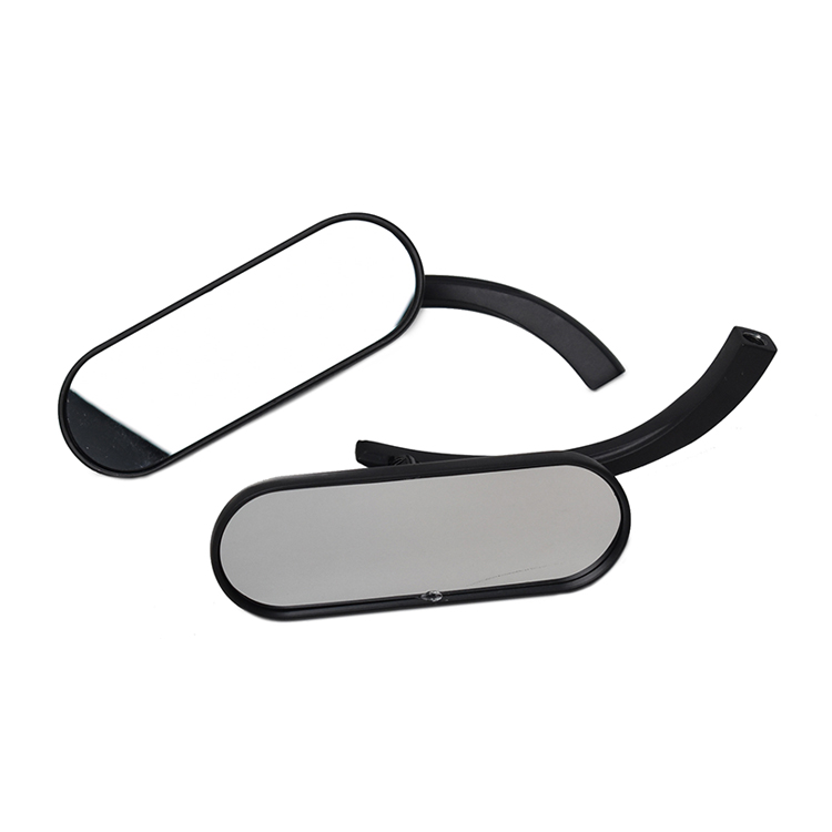 Retro Oval Rearview Side Mirrors For Harley - Black