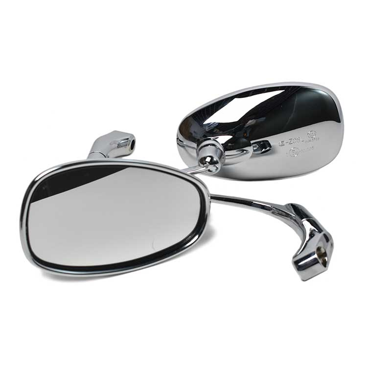 Retro Round Rearview Side Mirrors - Chrome