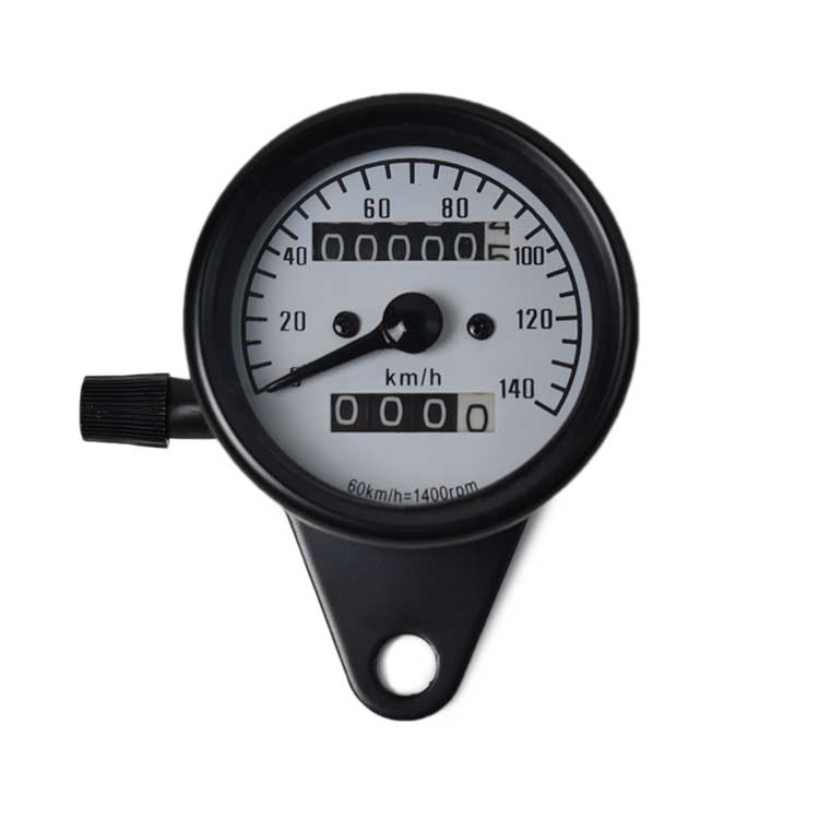 Mechanical 0-140km/h Motorcycle Speedometer - White Plate